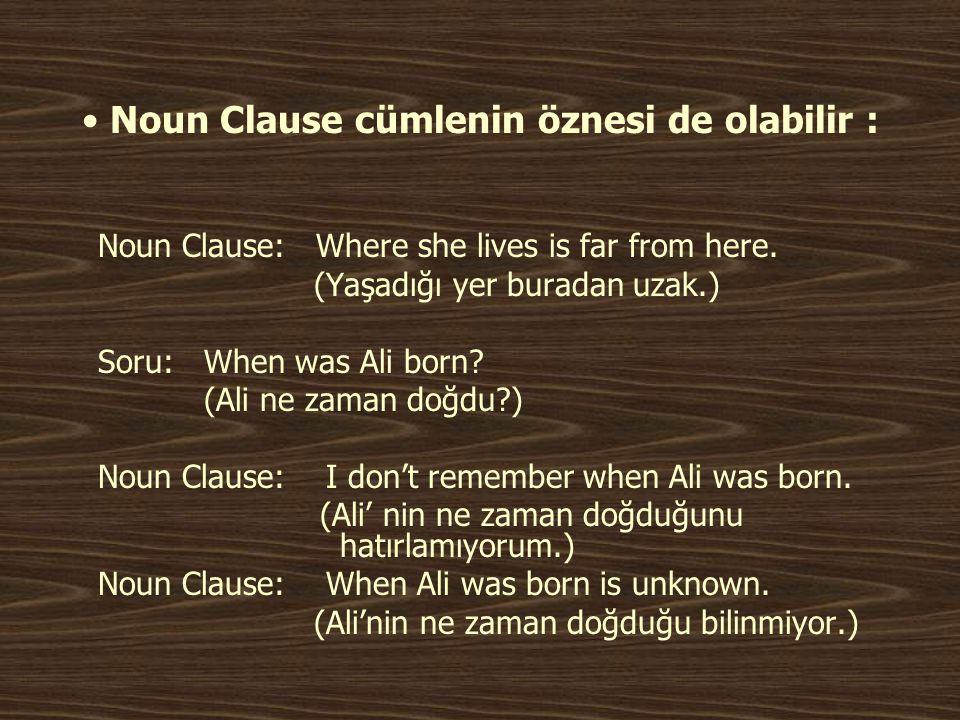Noun Clause cümlenin öznesi de olabilir :