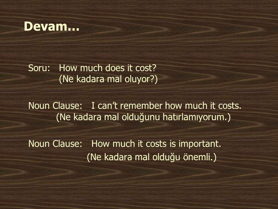 Devam… Soru: How much does it cost (Ne kadara mal oluyor )