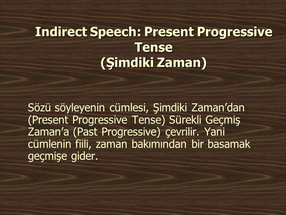 Indirect Speech: Present Progressive Tense (Şimdiki Zaman)
