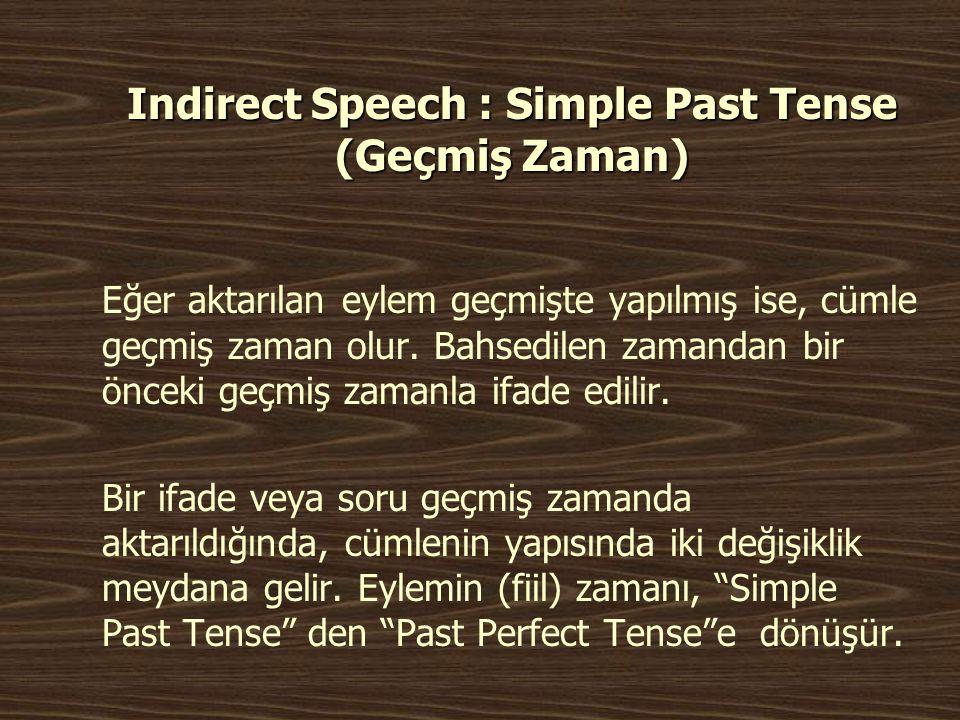 Indirect Speech : Simple Past Tense (Geçmiş Zaman)
