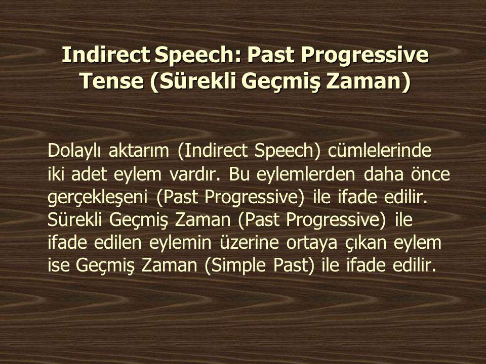 Indirect Speech: Past Progressive Tense (Sürekli Geçmiş Zaman)