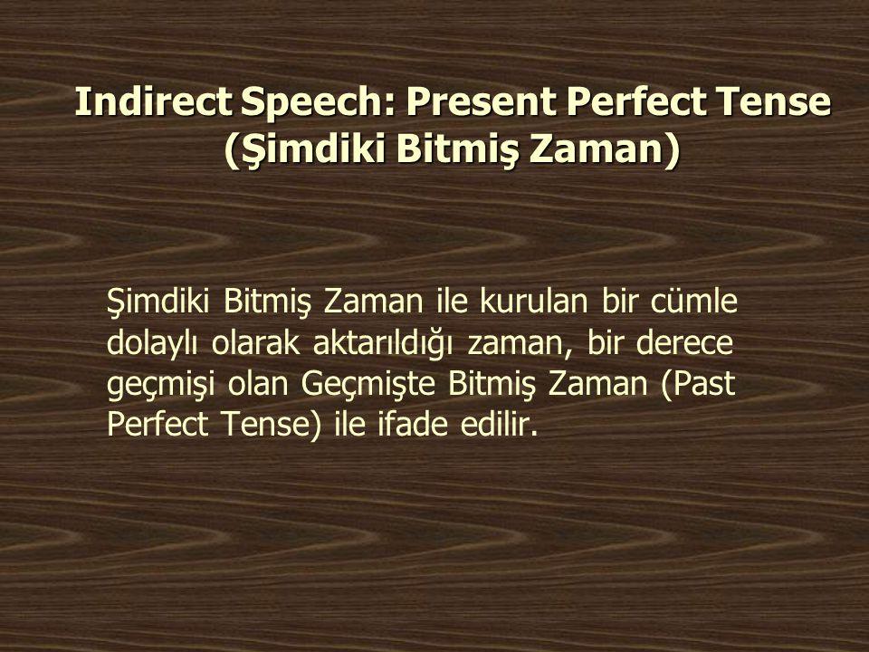 Indirect Speech: Present Perfect Tense (Şimdiki Bitmiş Zaman)