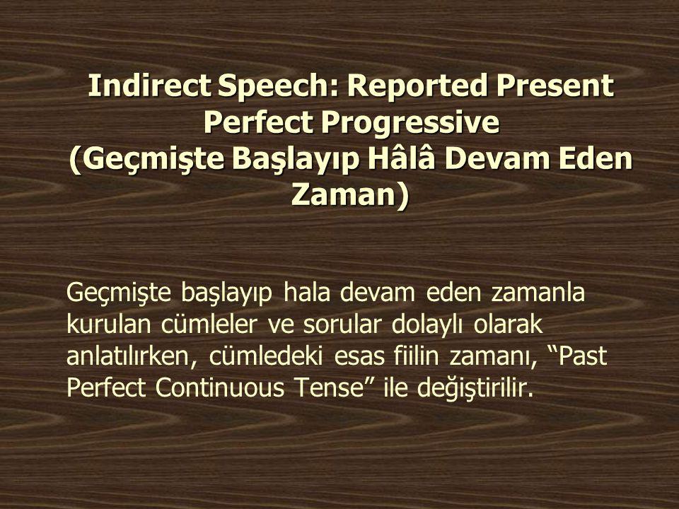 Indirect Speech: Reported Present Perfect Progressive (Geçmişte Başlayıp Hâlâ Devam Eden Zaman)