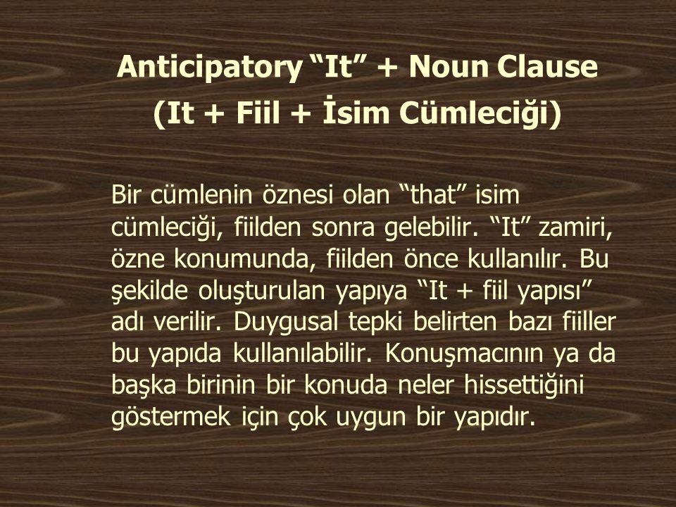 Anticipatory It + Noun Clause (It + Fiil + İsim Cümleciği)