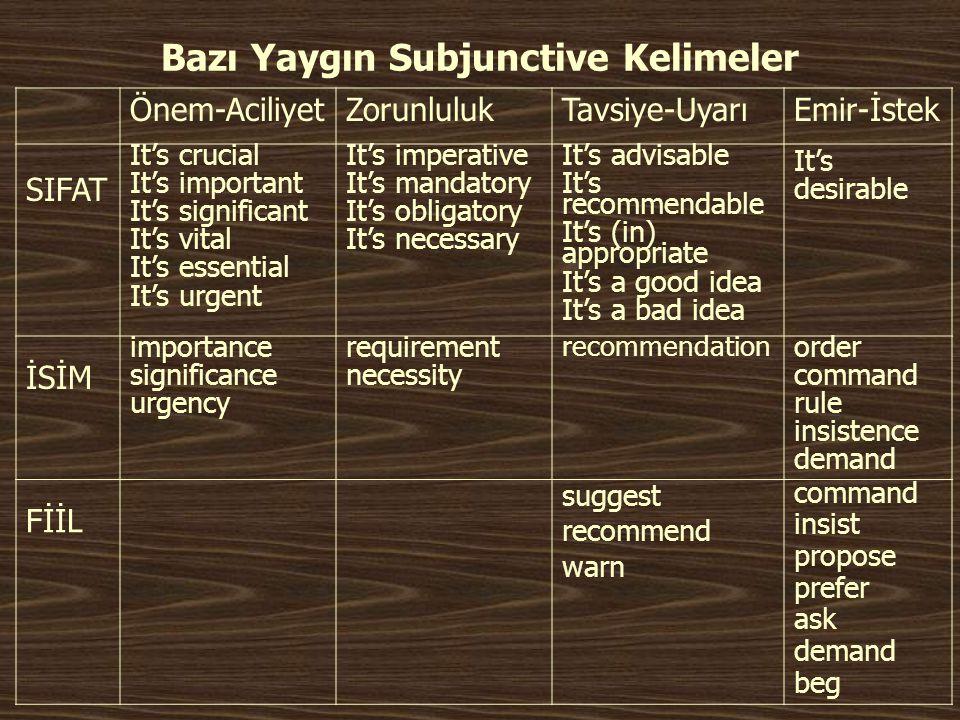 Bazı Yaygın Subjunctive Kelimeler