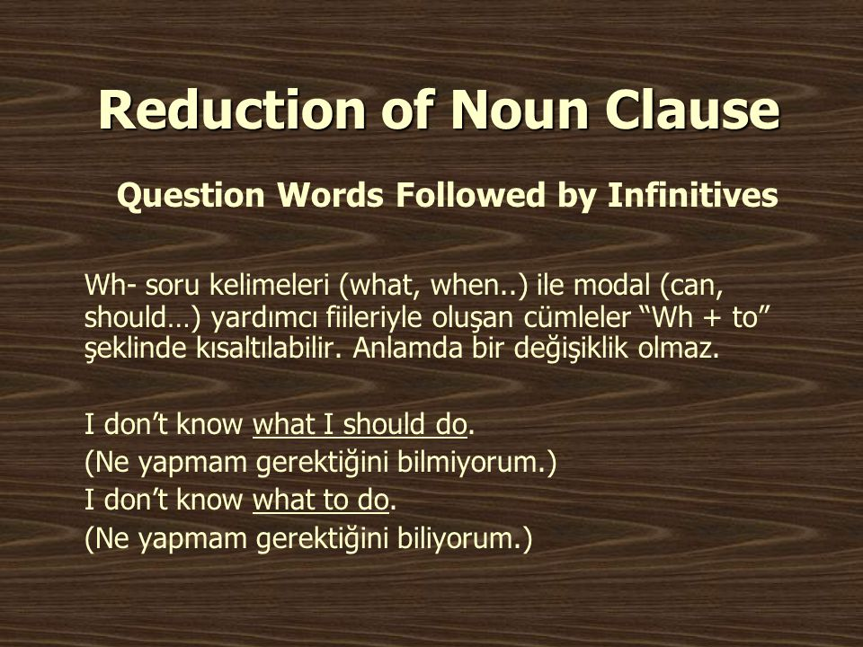 Reduction of Noun Clause