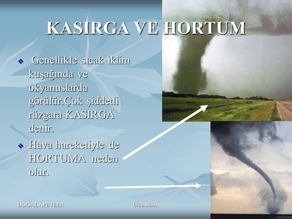 KASIRGA VE HORTUM Genellikle sıcak iklim kuşağında ve okyanuslarda görülür.Çok şiddetli rüzgara KASIRGA denir.