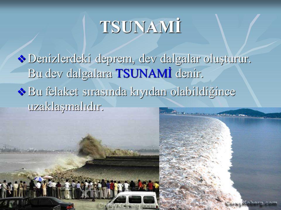 TSUNAMİ Denizlerdeki deprem, dev dalgalar oluşturur. Bu dev dalgalara TSUNAMİ denir. Bu felaket sırasında kıyıdan olabildiğince uzaklaşmalıdır.
