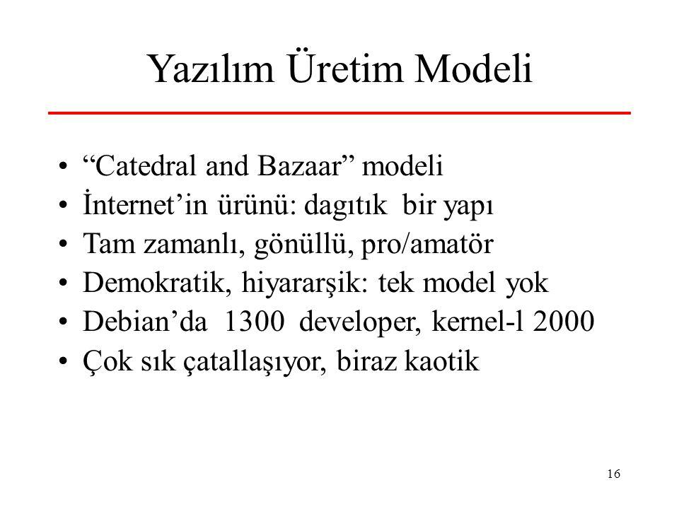 Yazılım Üretim Modeli Catedral and Bazaar modeli