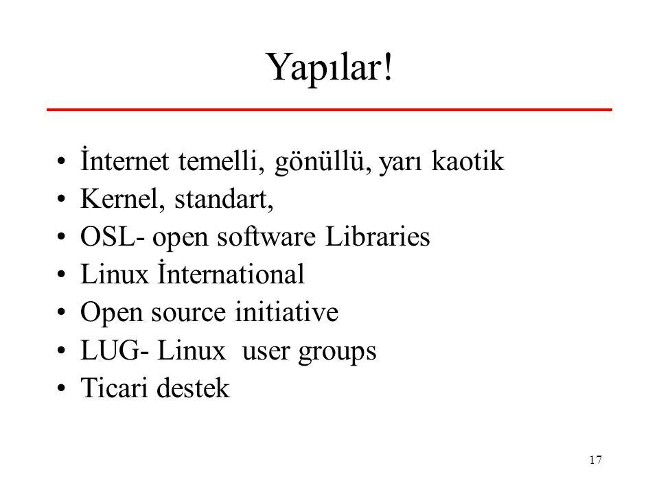 Yapılar! İnternet temelli, gönüllü, yarı kaotik Kernel, standart,