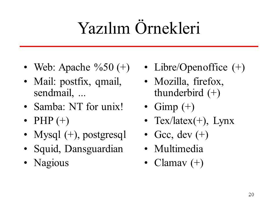 Yazılım Örnekleri Web: Apache %50 (+)