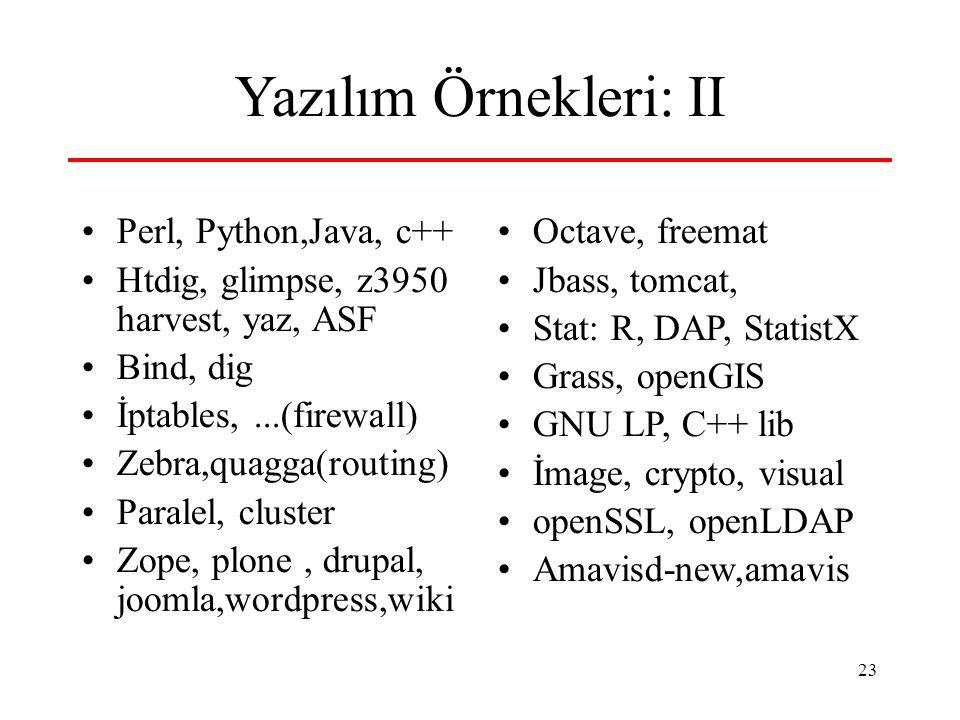 Yazılım Örnekleri: II Perl, Python,Java, c++