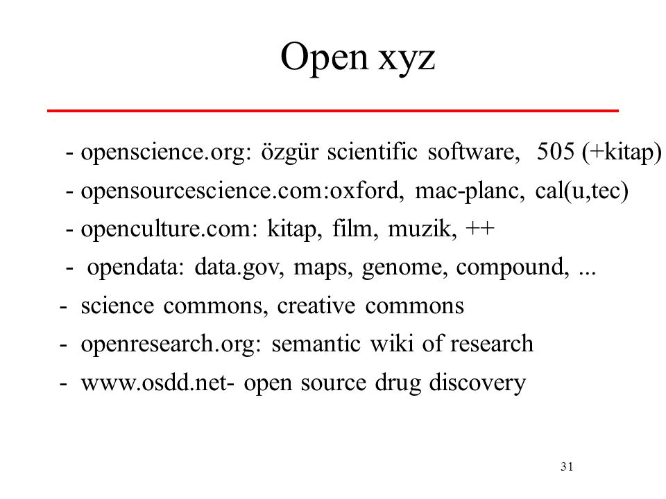 Open xyz - openscience.org: özgür scientific software, 505 (+kitap)