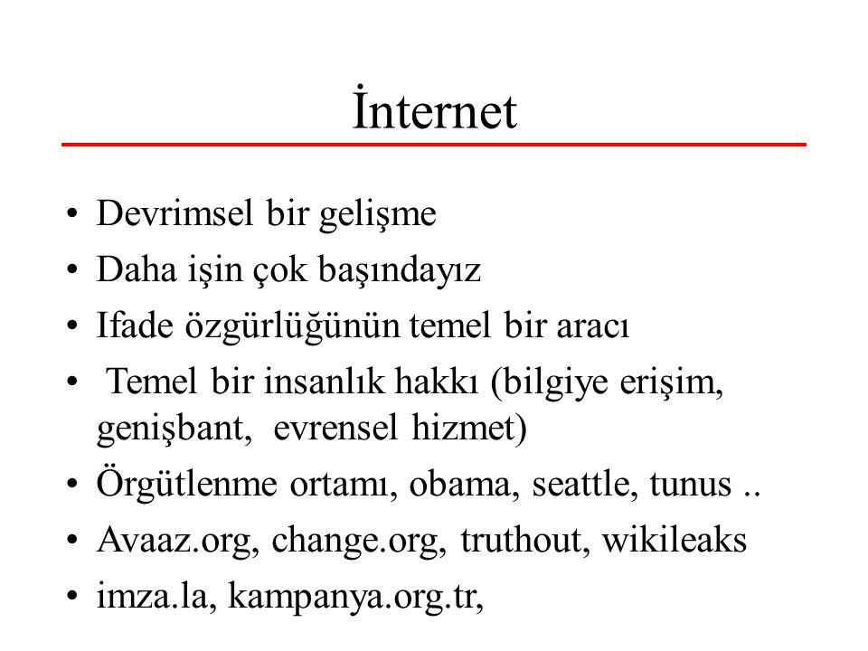 İnternet Devrimsel bir gelişme Daha işin çok başındayız