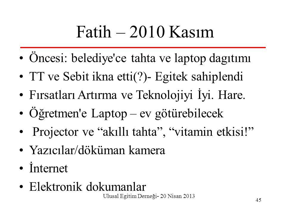 Ulusal Egitim Derneği- 20 Nisan 2013