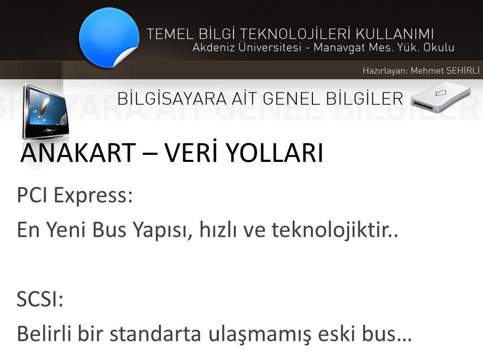 ANAKART – VERİ YOLLARI PCI Express: