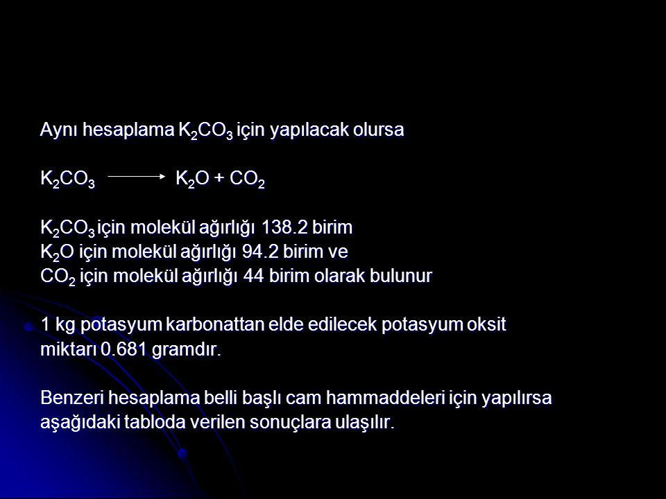 Aynı hesaplama K2CO3 için yapılacak olursa