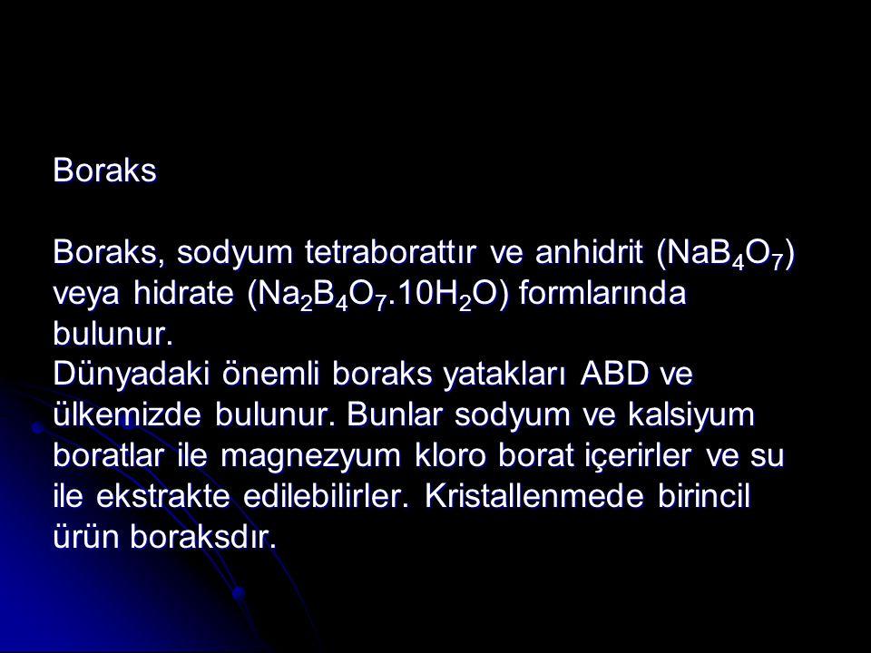 Boraks Boraks, sodyum tetraborattır ve anhidrit (NaB4O7) veya hidrate (Na2B4O7.10H2O) formlarında.