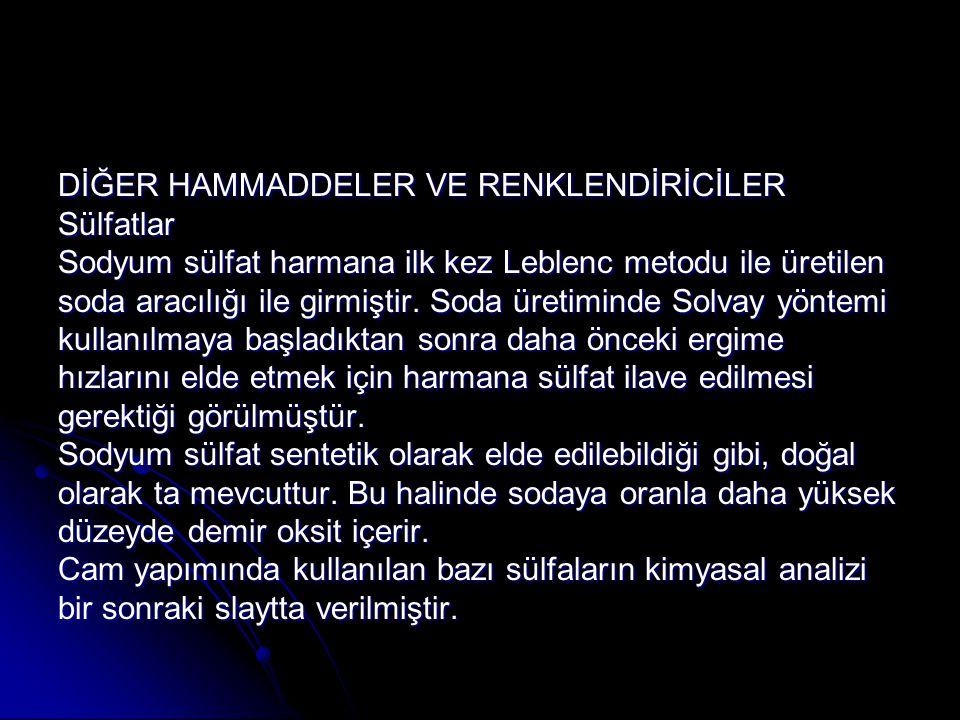 DİĞER HAMMADDELER VE RENKLENDİRİCİLER