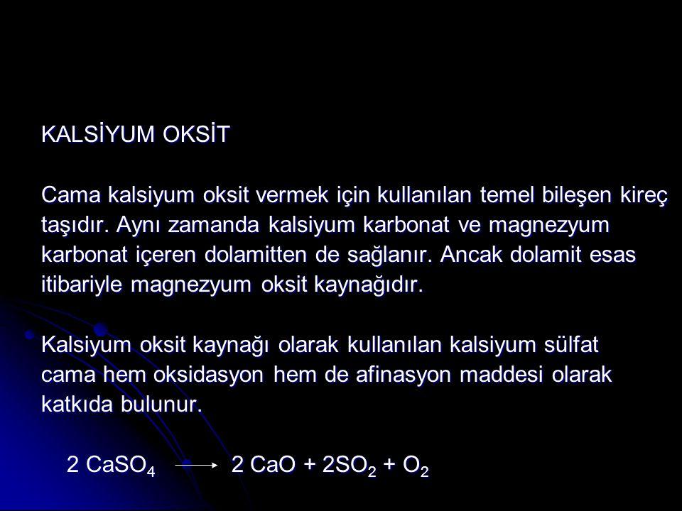 KALSİYUM OKSİT Cama kalsiyum oksit vermek için kullanılan temel bileşen kireç. taşıdır. Aynı zamanda kalsiyum karbonat ve magnezyum.