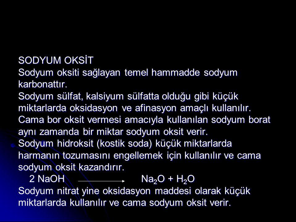 SODYUM OKSİT Sodyum oksiti sağlayan temel hammadde sodyum. karbonattır. Sodyum sülfat, kalsiyum sülfatta olduğu gibi küçük.