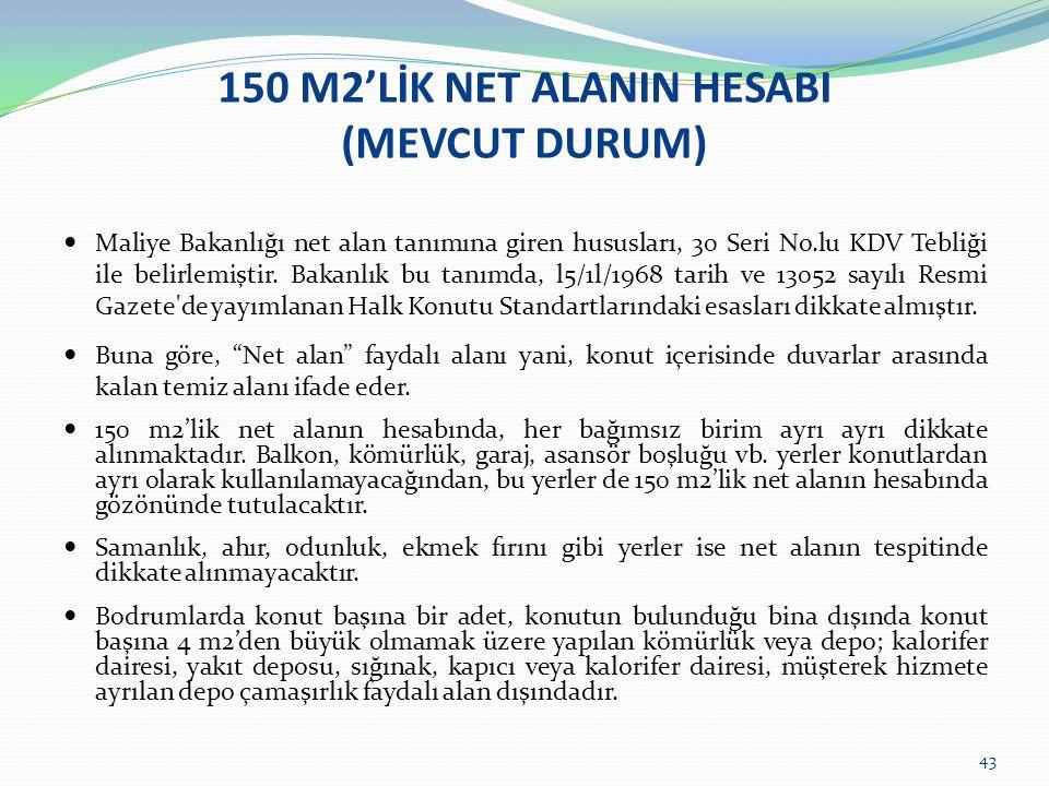 150 M2'LİK NET ALANIN HESABI (MEVCUT DURUM)