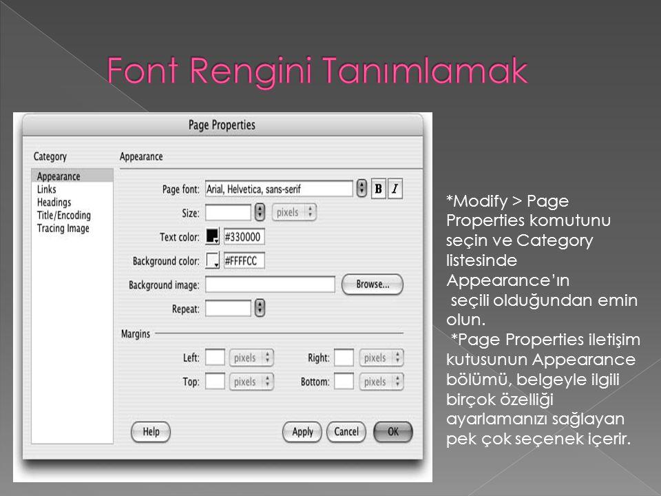 Font Rengini Tanımlamak