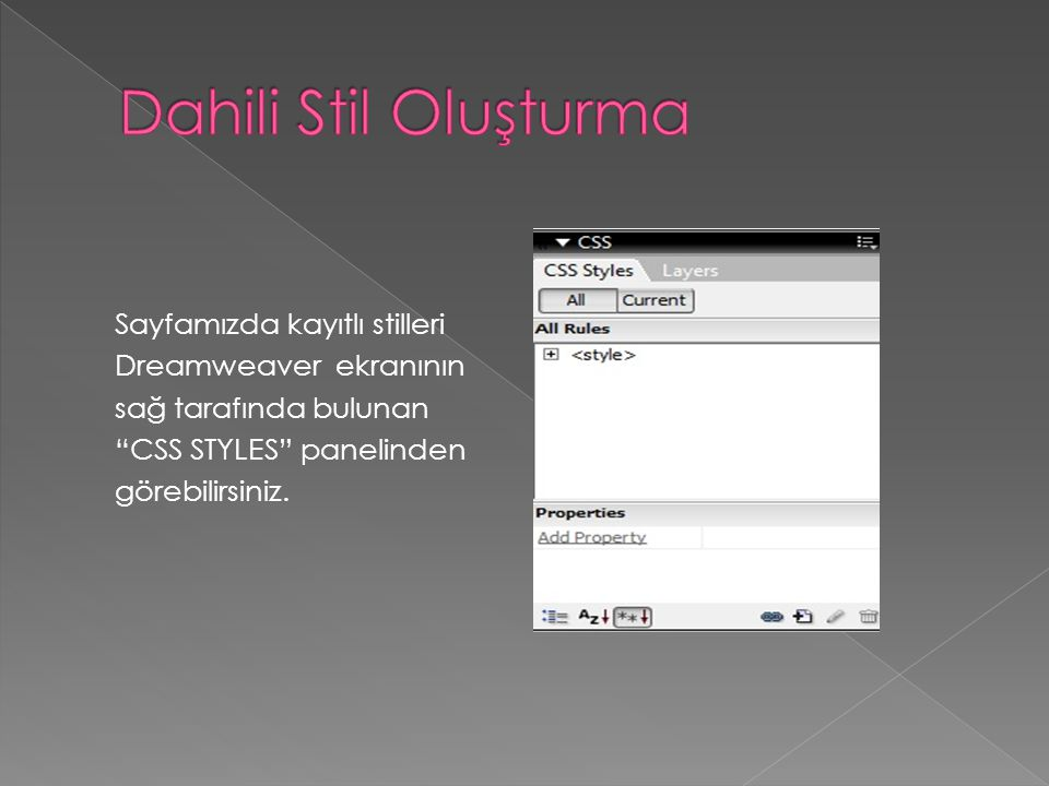Dahili Stil Oluşturma Sayfamızda kayıtlı stilleri Dreamweaver ekranının sağ tarafında bulunan CSS STYLES panelinden görebilirsiniz.