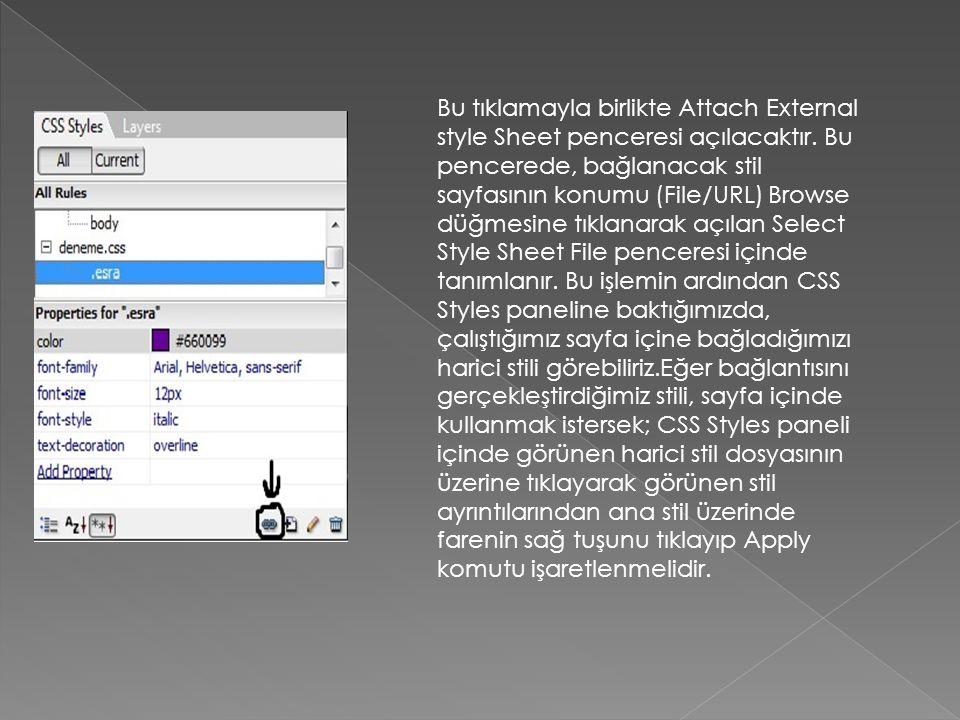 Bu tıklamayla birlikte Attach External style Sheet penceresi açılacaktır.