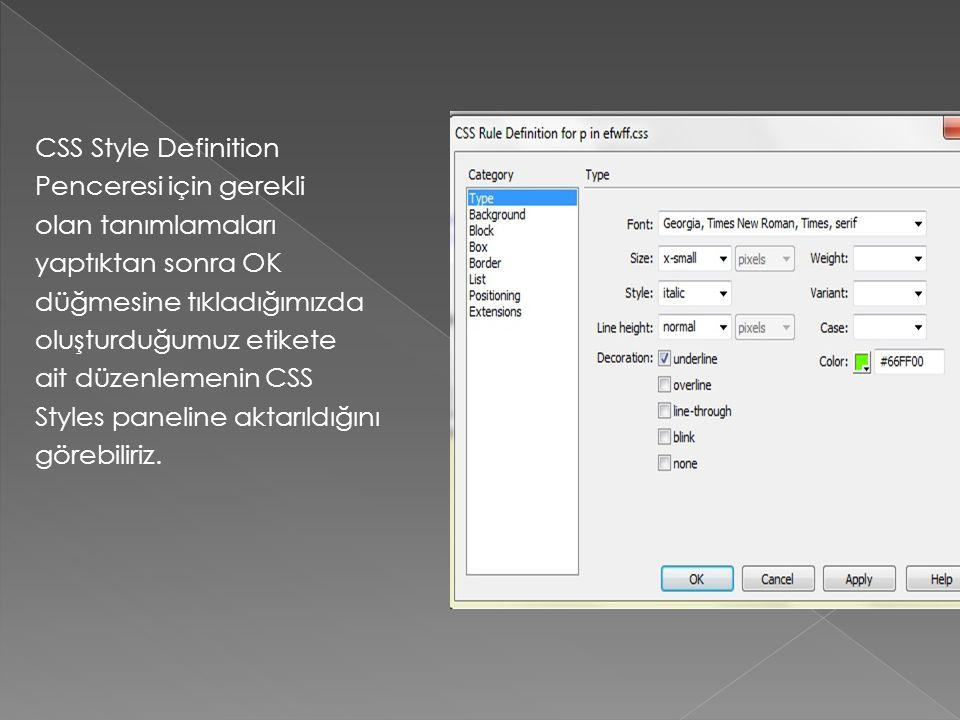CSS Style Definition Penceresi için gerekli olan tanımlamaları yaptıktan sonra OK düğmesine tıkladığımızda oluşturduğumuz etikete ait düzenlemenin CSS Styles paneline aktarıldığını görebiliriz.