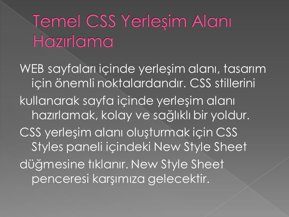 Temel CSS Yerleşim Alanı Hazırlama