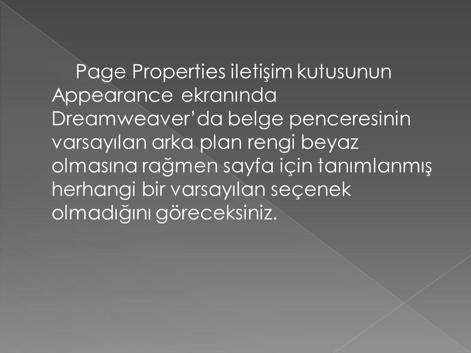 Page Properties iletişim kutusunun Appearance ekranında Dreamweaver'da belge penceresinin varsayılan arka plan rengi beyaz olmasına rağmen sayfa için tanımlanmış herhangi bir varsayılan seçenek olmadığını göreceksiniz.