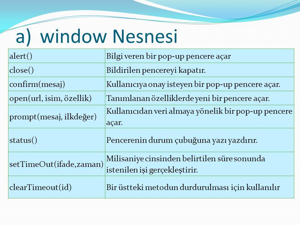 window Nesnesi alert() Bilgi veren bir pop-up pencere açar close()
