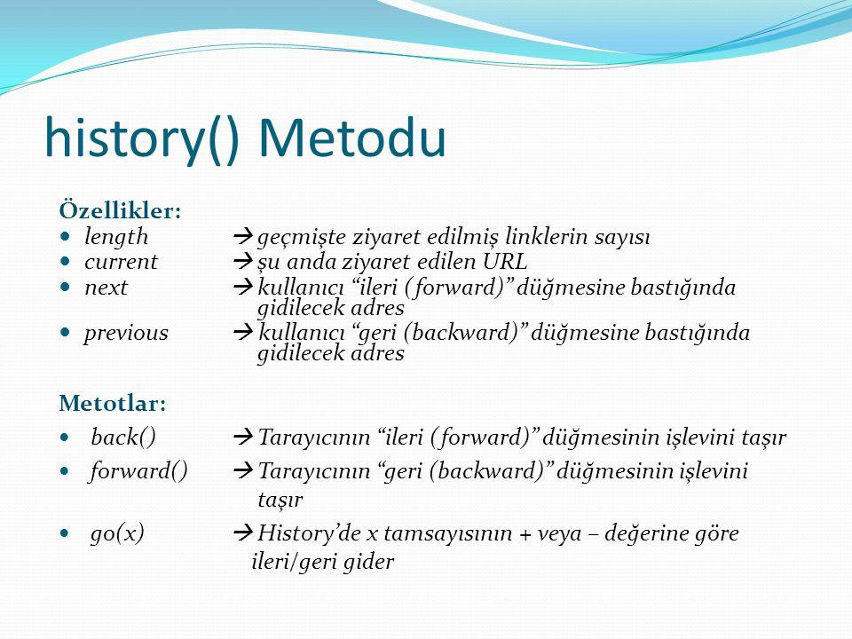 history() Metodu Özellikler: