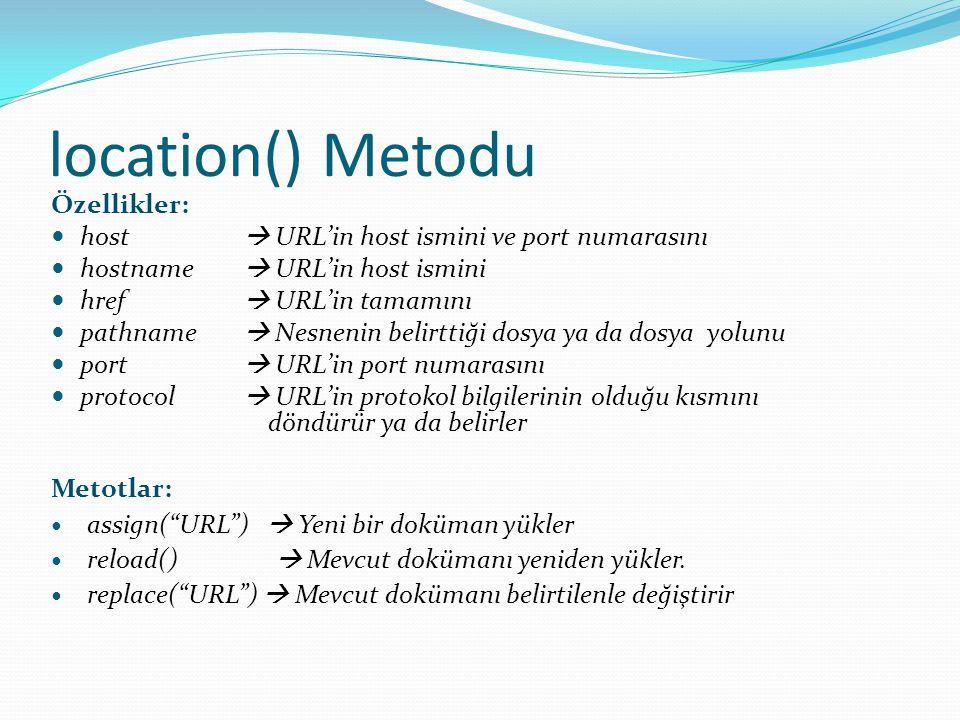 location() Metodu Özellikler: