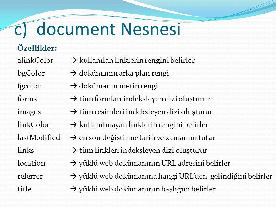 document Nesnesi Özellikler:
