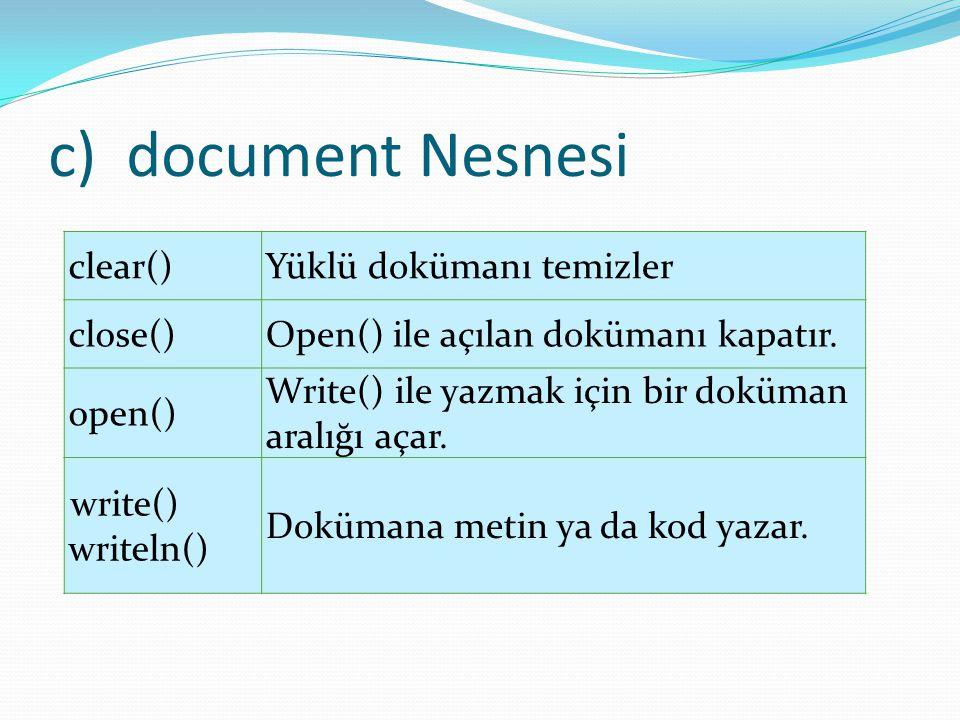 document Nesnesi clear() Yüklü dokümanı temizler close()