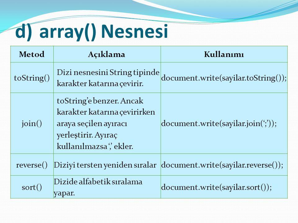 array() Nesnesi Metod Açıklama Kullanımı toString()