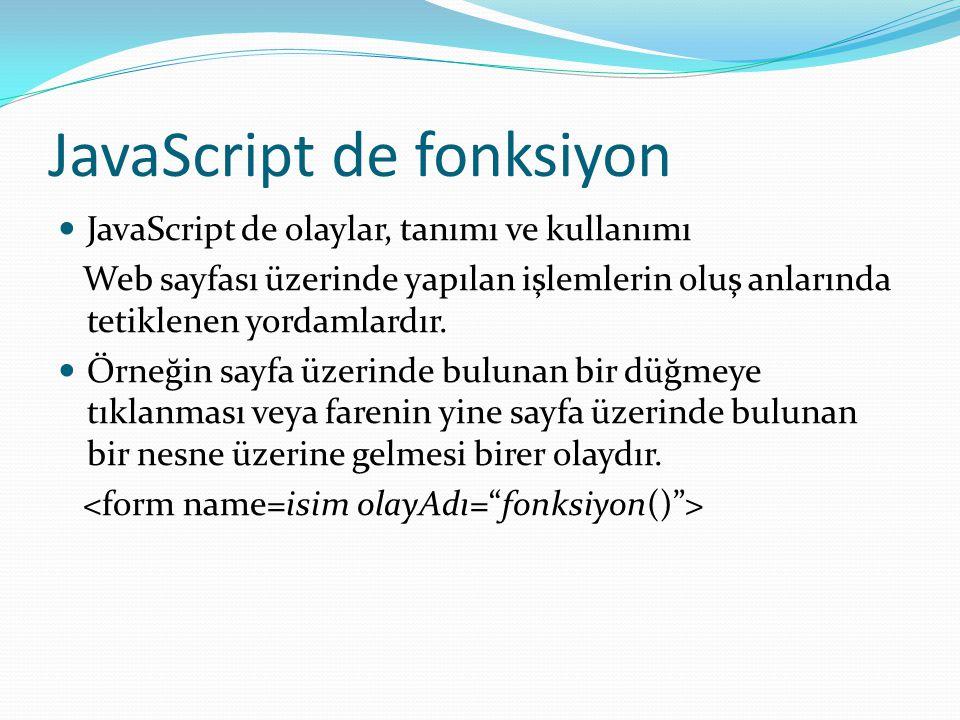 JavaScript de fonksiyon