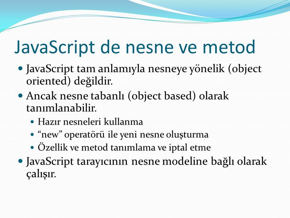 JavaScript de nesne ve metod