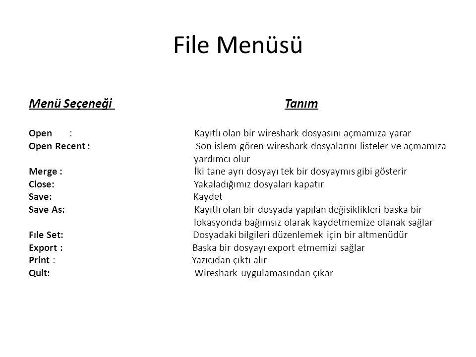 File Menüsü Menü Seçeneği Tanım