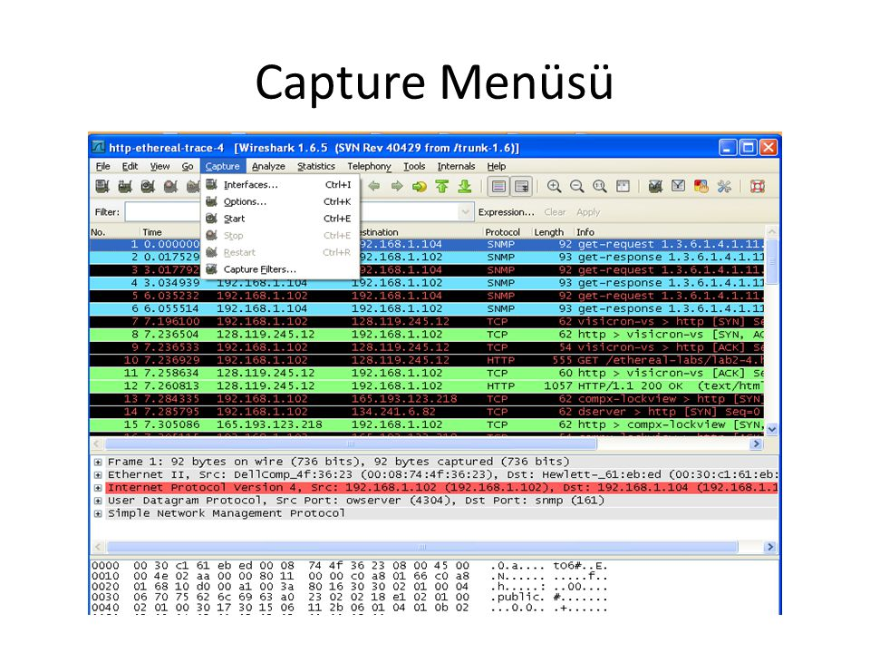 Capture Menüsü