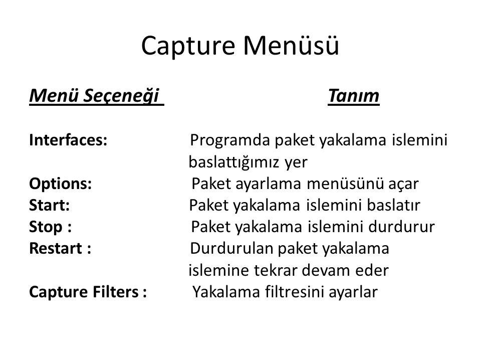Capture Menüsü Menü Seçeneği Tanım
