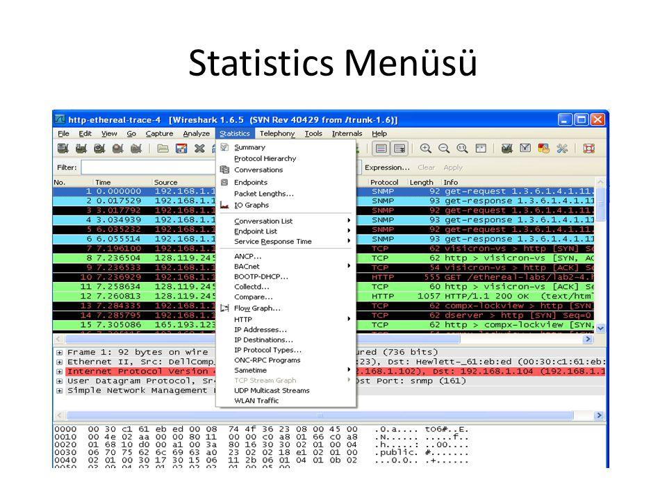 Statistics Menüsü