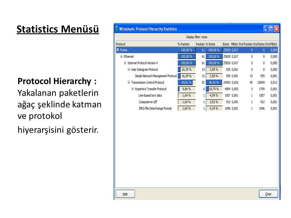 Statistics Menüsü Protocol Hierarchy : Yakalanan paketlerin ağaç şeklinde katman ve protokol.