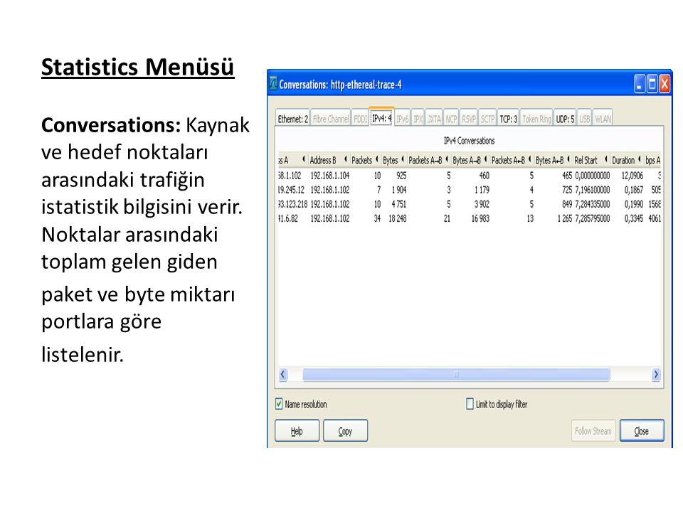 Statistics Menüsü Conversations: Kaynak ve hedef noktaları arasındaki trafiğin istatistik bilgisini verir. Noktalar arasındaki toplam gelen giden.
