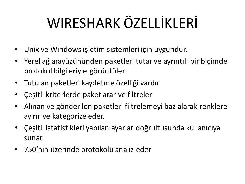 WIRESHARK ÖZELLİKLERİ