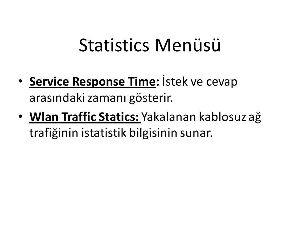 Statistics Menüsü Service Response Time: İstek ve cevap arasındaki zamanı gösterir.