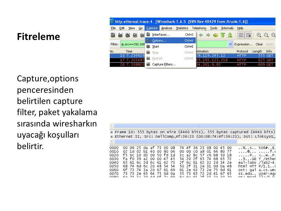 Fitreleme Capture,options penceresinden belirtilen capture filter, paket yakalama sırasında wiresharkın uyacağı koşulları belirtir.