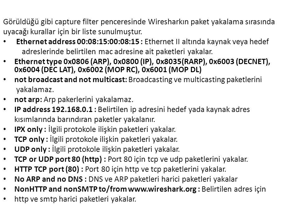 Görüldüğü gibi capture filter penceresinde Wiresharkın paket yakalama sırasında